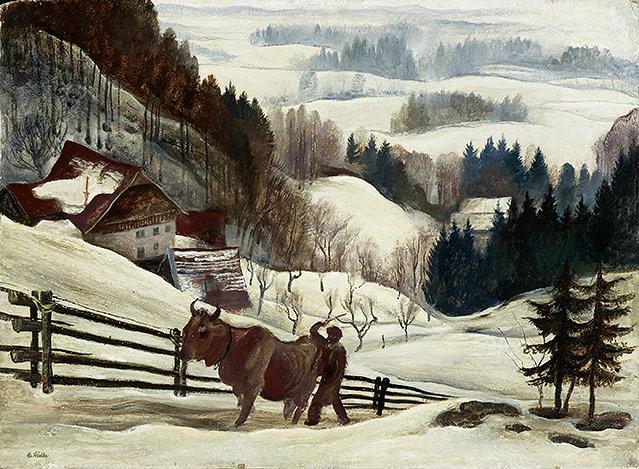 Gemälde von Albert Birkle - Der Kuhtreiber