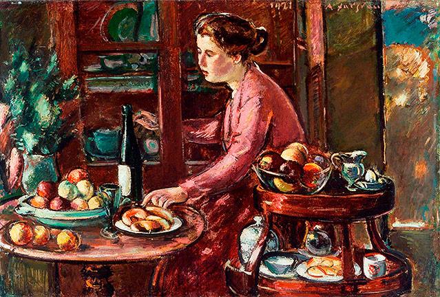 Gemälde von Anton Faistauer - Großes Stillleben mit Frau