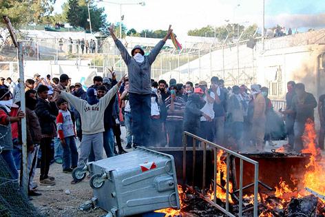 Proteste auf Lesbos