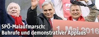 Wiener Bürgermeister Michael Häupl, Bundeskanzler Werner Faymann, ÖGB Präsident Erich Foglar