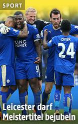 Leicester-Spieler jubeln