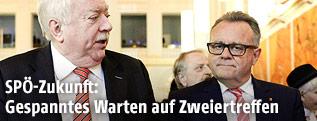 Wiens Bürgermeister und Landeshauptmann Michael Häupl (L.) und Burgenlands Landeshauptmann Hans Niessl