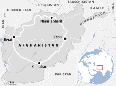 Karte zeigt den Highway One in Afghanistan