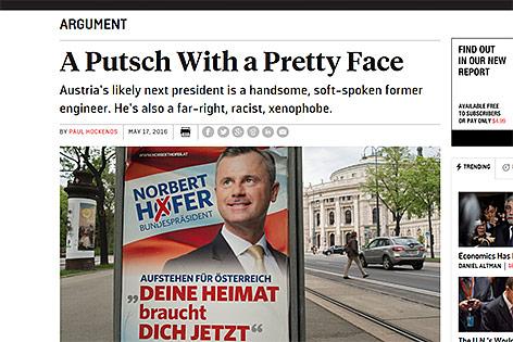 Screenshot eines Zeitungsartikels