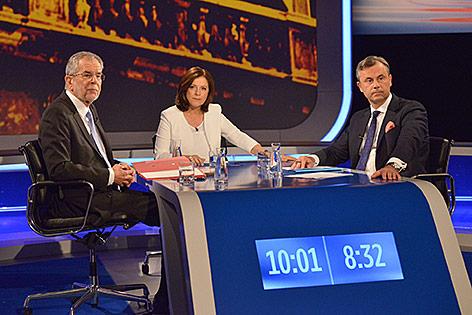 Norbert Hofer und Van der Bellen beim ORF-TV-Duell