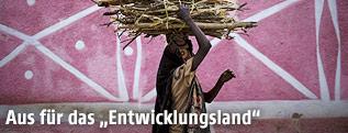 Äthiopierin trägt Feuerholz