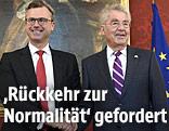 Bundespräsident Heinz Fischer begrüßt Norbert Hofer