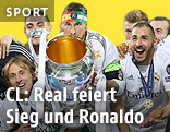 Jubelnde Real-Madrid-Spieler mit CL-Pokal