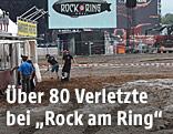 "Aufräumarbeiten nach dem Blitzschlag am Musikfestival ""Rock am Ring"""