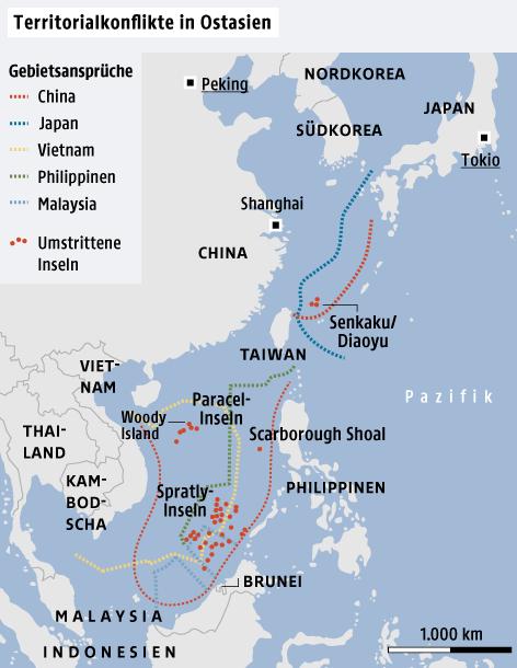 Grafik zu den Territorialkonflikten in Ostasien