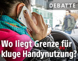 Autofahrende Frau mit Handy am Ohr