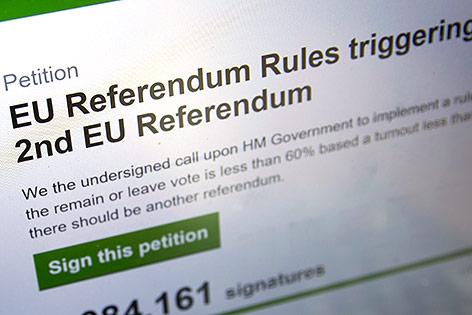 Website der Petition gegen den Brexit