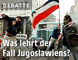 Gewaltbereite Demonstranten mit Jugoslawienfahne im Jahr 2000