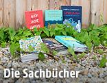 Bücher neben wild wachsendem Wein