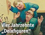 Karikatur von Manfred Deix: Bedrohte Lehrer,1990