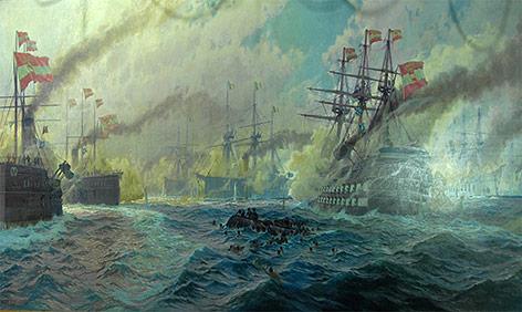 """""""Die Seeschlacht bei Lissa 1866"""" von Alexander Kircher, 1918"""