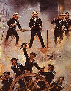 """""""Tegethoff in der Seeschlacht von Lissa"""" von Anton Romako, 1878–1880"""
