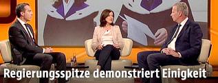 """Bundeskanzler Kern (SPÖ) und Vizekanzler Mitterlehner (ÖVP) in der ORF-Sendung """"Im Zentrum"""""""