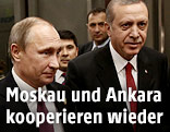 Russischer Präsident Wladimir Putin und sein türkischer Amtskollege Reccep Tayyip Erdogan
