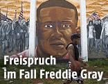 Porträt von Freddy Gray auf einer Mauer