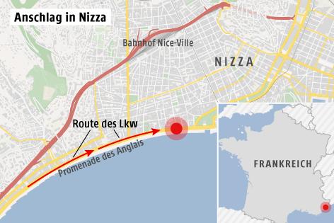 Karte zeigt Anschlagsort in Nizza