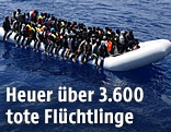 Flüchtlinge auf Boot im Mittelmeer