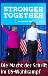 "Hillary Clinton und Barack Obama vor dem Schriftzug ""Stronger Together"""