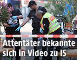 Ermittler am Tatort des Bombenanschlags von Ansbach