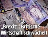 Zerknitterter britischer 20-Pfund-Schein