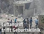 Zerstörte Geburtsklinik in der syrischen Stadt Kafar Takharim