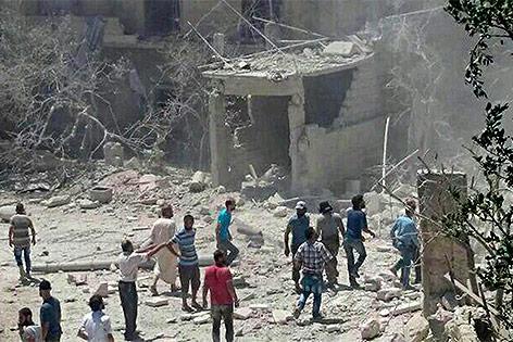 Bombardierte Geburtsklinik im Westen Syriens