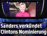 Die demokratische US-Präsidentschaftskandidatin Hillary Clinton auf einer Videowall