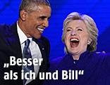 US-Präsident Bararck Obama und Präsidentschaftskandidatin Hillary Clinton