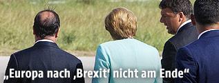 Rückenansicht von Francois Hollande, Angela Merkel und Matteo Renzi