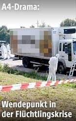 Ermittler vor dem betroffenen Lastwagen auf der A4 bei Parndorf