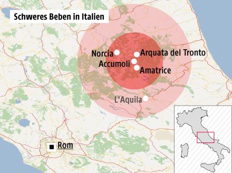 erdbeben italien karte 120 Tote nach Beben in Italien   news.ORF.at erdbeben italien karte