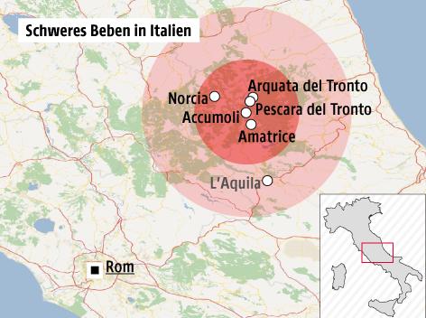 italien landkarte amatrice Starke Nachbeben in Italien   news.ORF.at