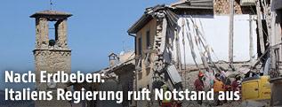 Zerstörtes Gebäude in Amatrice