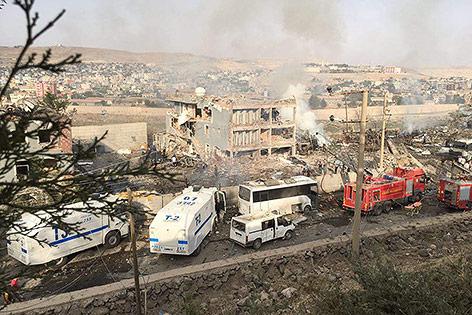 Zerstörte Polizeidienststelle in Cizre