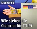 Ausgestreckte Hand von einem Rednerpult und die deutsche, europäische und amerikanische Flagge