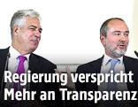 Minister Hans Jörg Schelling und Minister Thomas Drozda während des Pressefoyers