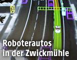 Grafische Darstellung einer Straße auf der Sicht eines selbstfahrenden Autos