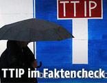 Person mit Schirm geht an einem TTIP-Protestschild vorbei