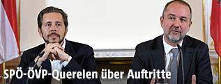 Die Regierungskoordinatoren Sts. Harald Mahrer (ÖVP) und BM Thomas Drozda (SPÖ)