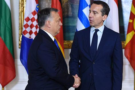 Der ungarische Ministerpräsident Viktor Orban und Bundeskanzler Christian Kern