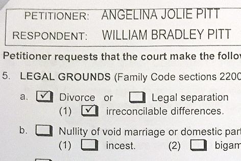 Eingereichte Scheidungsunterlagen von Angelina Jolie