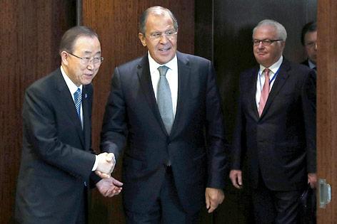 UNO-Generalsekretär Ban Ki-Moon und der russische Außenminister Sergej Lawrow