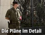 Bundesheersoldat vor der französischen Botschaft in Wien