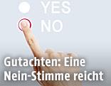 Ein Finger drückt bei Abstimmung auf No