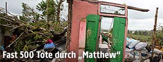 """Durch Hurrikan """"Matthew"""" zerstörtes Haus"""
